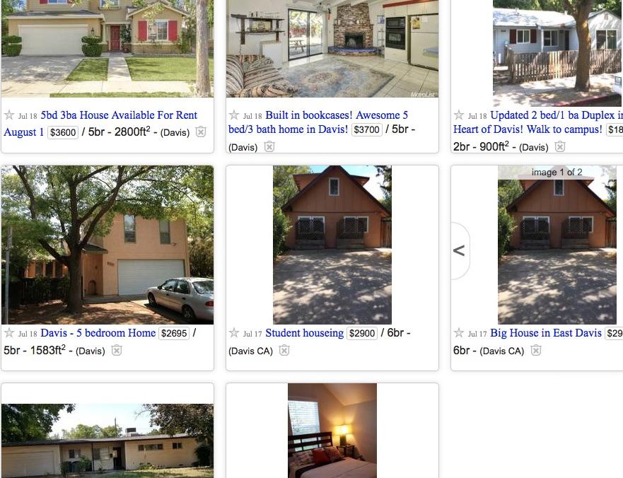 Davis rental listing on Craigslist  July 2016. Davis houses for rent listed on Craiglist  072416 jpg   KDRT 95 7