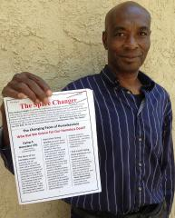 Lawson Snipes with his publication, the Spare Changer