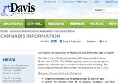 City of Davis website, cannabis page