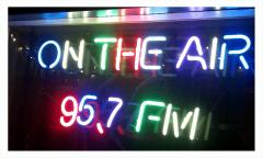 KDRT community radio for Davis in neon art