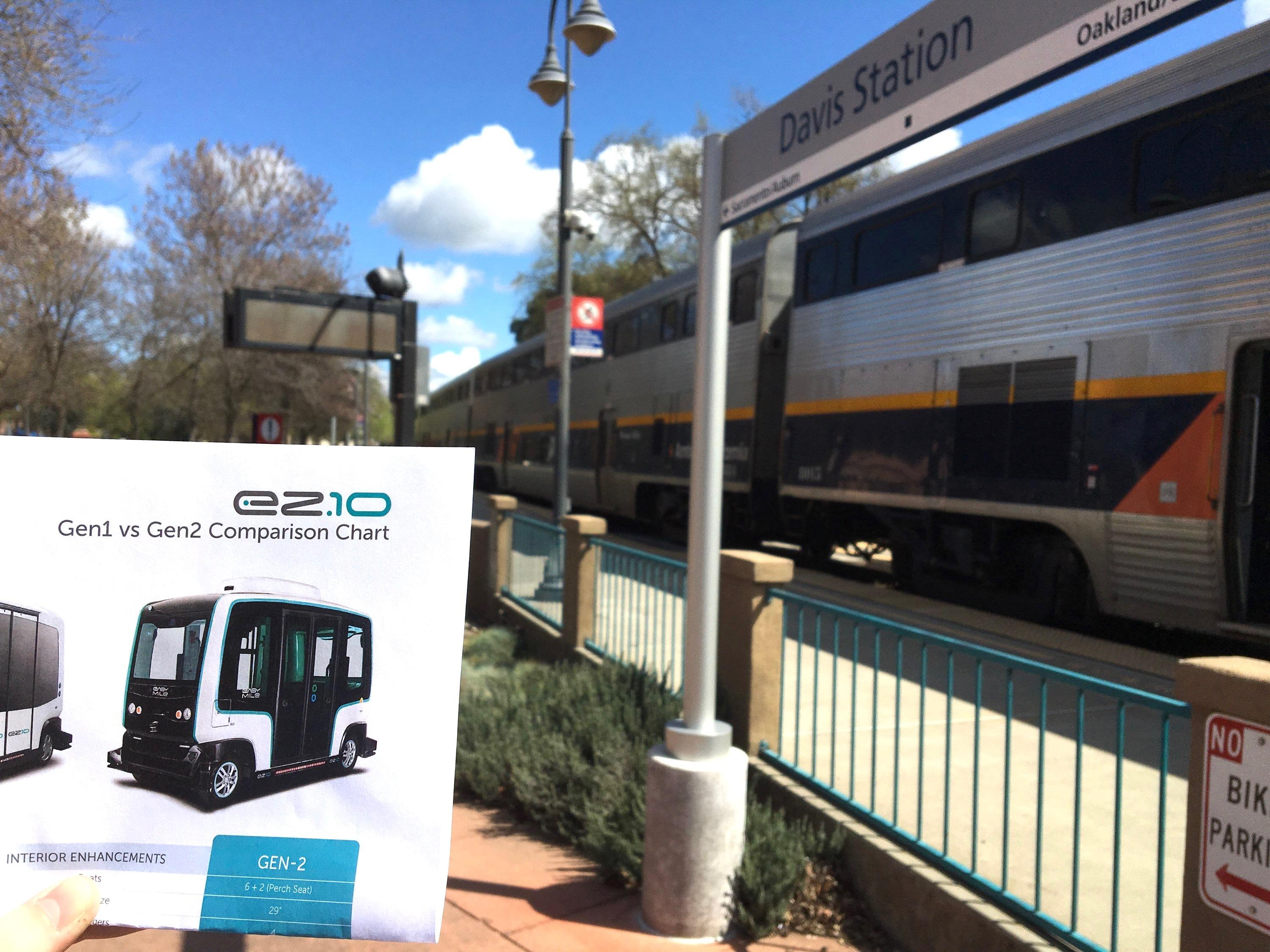 A self-driving shuttle is proposed for a route between the Davis train station and UC Davis