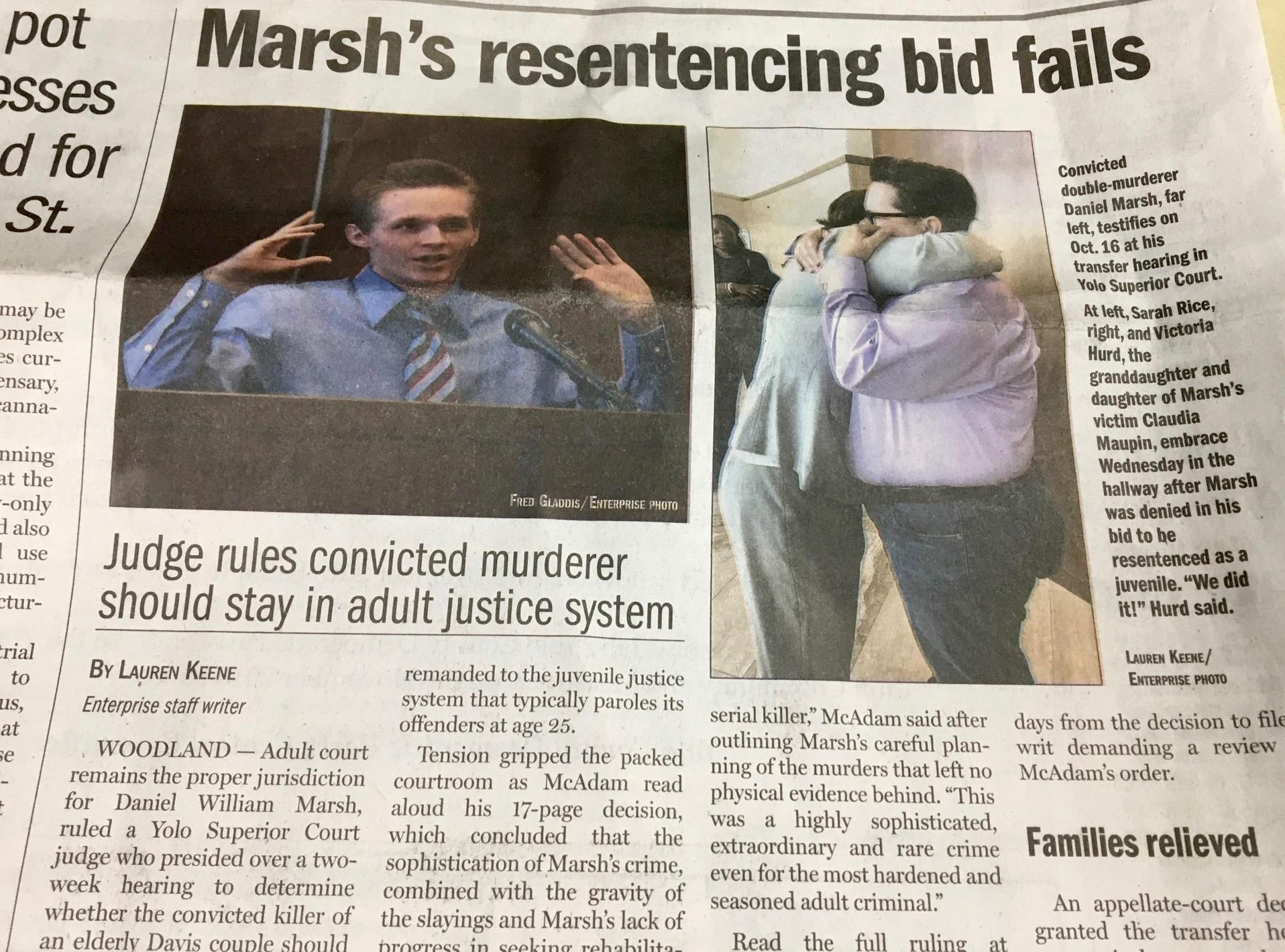 Newspaper front page, about Daniel Marsh