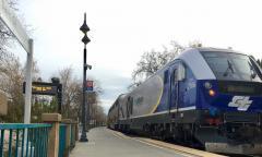 Eastbound Capitol Corridor train leaving Davis, February 2021