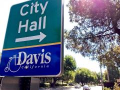 Davis City Hall direction sign