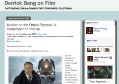 Screen shot of Derrick Bang's movie blog